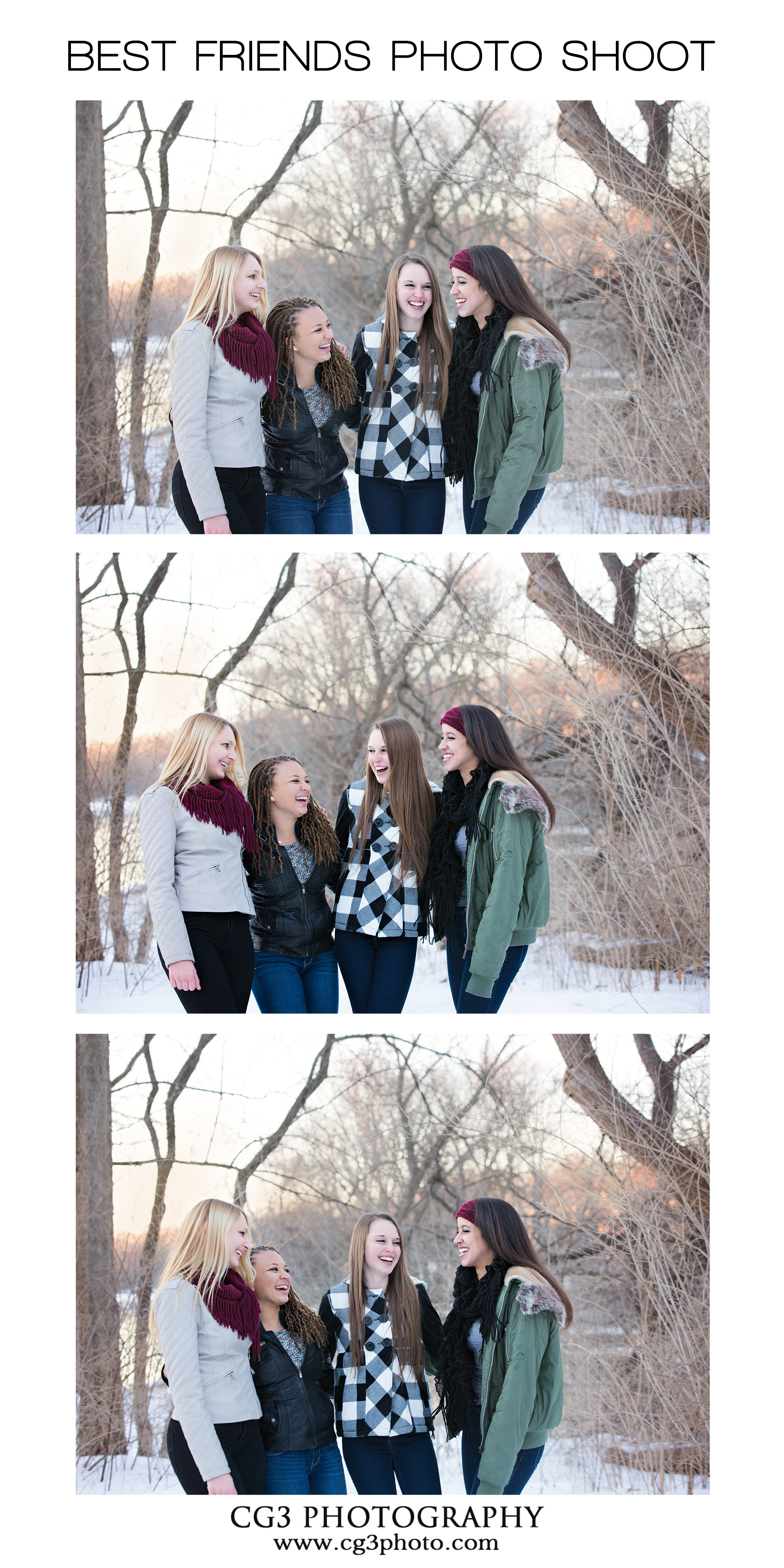 High School Best Friends Photo Shoot Collage